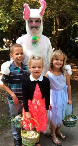 Denise the Easter Bunny, with children holding egg baskets