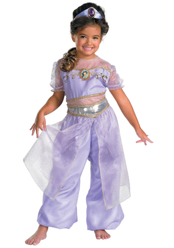 Girl wearing purple Jasmine costume