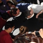 people playing Pie in the Face at a party