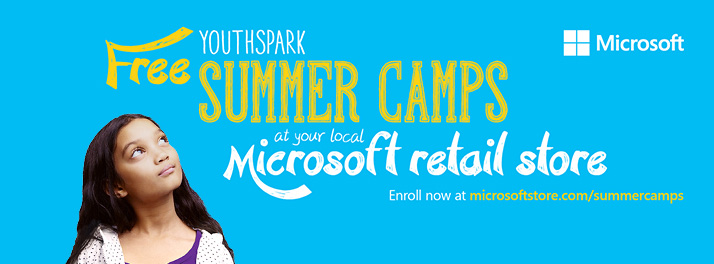Free Microsoft YouthSpark summer camps in Palo Alto, CA and other Microsoft retail stores